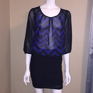 Chevron sheer blouse size SP